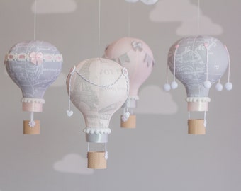 Heirloom Baby Mobile, Hot Air Balloon, Baby Mobile, Travel Theme Nursery, Nursery Decor, Pink and Grey, i72