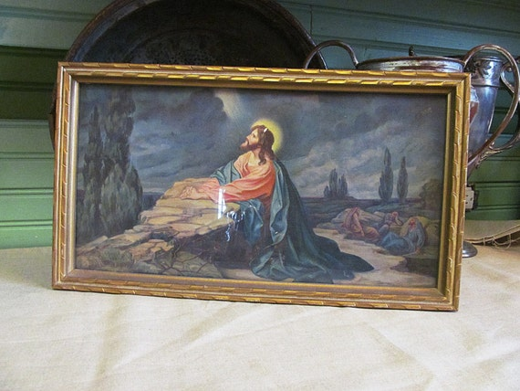vintage jesus praying   garden  gethsemane religious