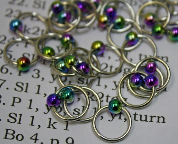 20 Knitting stitch marker peacock rings by CraftyCatKnittyBits