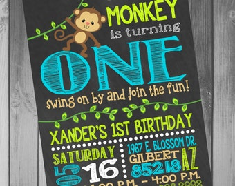 Monkey Birthday Invitation Monkey Birthday Party Monkey Invitations Birthday Invitation First Birthday 1st Birthday Boy Birthday Invitation