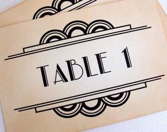Gatsby Table Numbers, Art Deco Table Numbers, Great Gatsby Wedding Table Names, Old Hollywood Glamour, 1920s Table Numbers, Matching Items