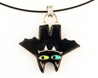 Bat Necklace Bat Pendant Handmade Ceramicwith 22K White Gold Accents by Sean Brown
