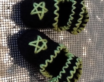 Hand Knitted Black Baby Booties with Pentagram Stitch Detail Gothic Pagan Wicca