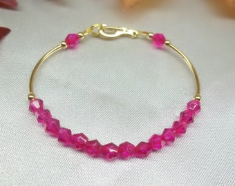 14k Gold Hot Pink Bracelet Fuschia Crystal Bracelet Hot Pink Crystal Bracelet 14k Gold Filled Bracelet BuyAny3+Get1Free