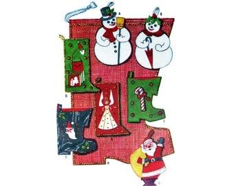 Christmas Stockings Snowmen Felt 1959 Pattern McCall's 2351