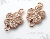 2pcs White Cubic Zirconia Excellent Quality 24K Rose Gold Plated Jewelry Findings // 9.5mm x 9mm (14mm including Loop) // 1189-BRG