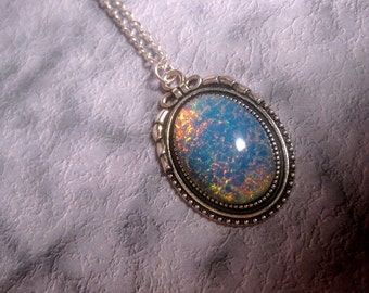 Tiki Blue Opal Necklace - Fire Opal Necklace - Silver Bow Top Frame - Pendant - Custom Chain Length