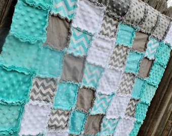 Gray & Aqua CHEVRON Rag Quilt/Blanket! Perfect baby shower/birthday gift! Would be adorable baby boy nursery  bedding/quilt!
