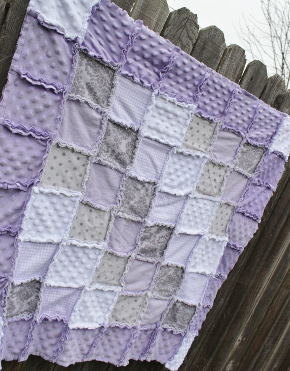 Lavender/Purple Gray & White Rag Quilt/Blanket Perfect baby : purple and white quilt - Adamdwight.com