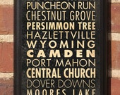 City of Dover, Delaware Points of Interest Subway Transit Scroll Vintage Style Wall Plaque / Sign