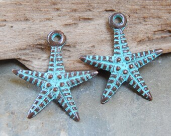 24X26mm Starfish Green Patina Verdigris Greek Mykonos Casting Charm - Pendants, 2 PC (INGOM728)