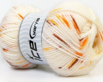 Ice Yarn Baby Spot Cream Brown, Orange Yellow Hand Knitting 100 gr 360 m 100% Acrylic One Ball