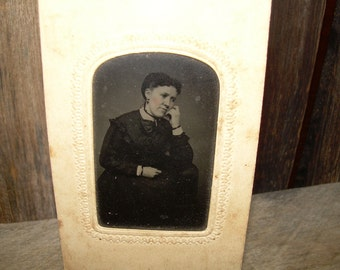 Tintype Photo In Paper Frame - Lady Deep in Thought - Mourning