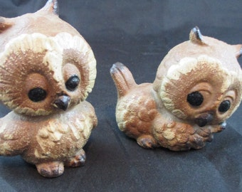 Set of Two Adorable Vintage Owl Figurines Collectibles Japan A94