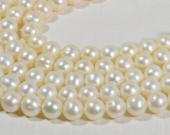 Freshwater Pearl 8-8.5mm Beads Jewelry Making Supplies Pearl Beads White Pearl Beads