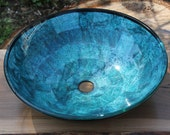 """16.5"""" Teal  Aqua Turquise Blue and Black Abstract Hand Made Mixed Media Glass Bathroom Vessel Sink Basin"""