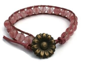 Cherry Quartz Leather Wrap Bracelet - Stacking Bracelet, Boho Jewelry, Pink Bracelet, Gemstone Bracelet, Stack Bracelet, Beaded Bracelet