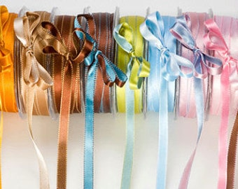 3/8 Inch Satin Reversible Stitched Edge by the yard Lots of Colors to Choose From