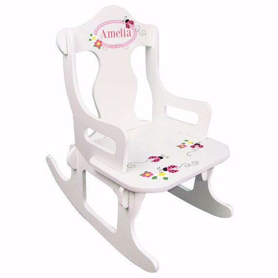 Personalized Girl 39 S White Puzzle Rocking Chair With Child 39 S Name And