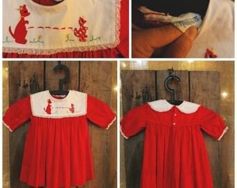 Cute red kangaroo Nannette vintage girl's dress