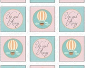 Instant Download DIY Printable Up and Away Hot Air Balloon Cupcake Toppers/Party Circles