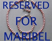 RESERVED FOR MARIBEL, Necklace, Bracelet and Earrings in Pink Pearls