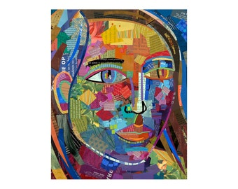 collage art, 8x10 print, primitive folk art portrait, colorful art  by Elizabeth Rosen