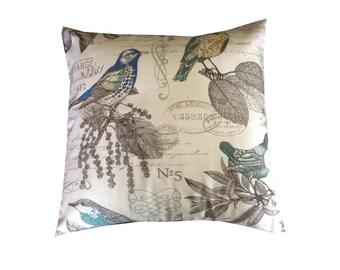 THROW PILLOW sham / cover 18x18 blue green brown BIRD botanical script print