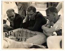 Vintage Black and White New York City Photo - 1950s - Chess Players in Washington Square Park NYC - Mid-Century Home Decor