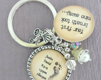 Personalized New Mom Keychain Actual Babys Footprint Keychain New Grandma Baby Feet Necklace Your First Breath Took Mine Away Infant Loss