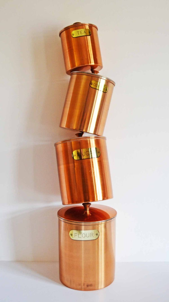 vintage 70 s copper kitchen canister set