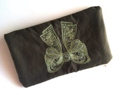 Embroidered Bow Makeup Bag, Zipper Pouch for Keeping Cords and Chargers