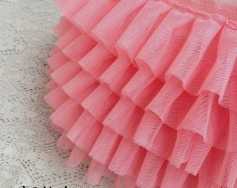 watermelon ruffled trim, chiffon ruffles trim, tutu mesh trim, doll dress trim