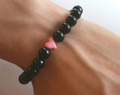 Pink heart and natural black obsidian gemstone beaded stretch bracelet  ( free shipping usa )