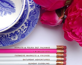 I Love Weekends Pencils- White, Pink, and Gold, Set of 6