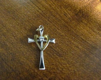 Vintage 90's Sterling Silver 925 Cross pendant With CZ Stone FREE  SHIPPING In United States