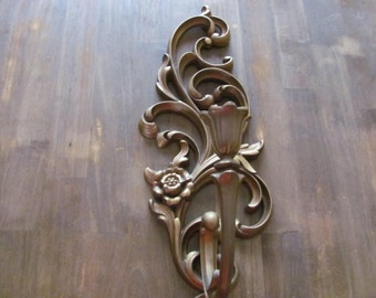 Vintage Gold SYROCO 1 Arm Hollywood Regency Wall Sconce Scrolled # 4531L