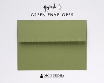 Upgrade to GREEN ENVELOPES Wasabi Olive Moss Add-On for any digibuddha Invitations or Thank You Cards. Wedding Bridal Shower Baby Shower