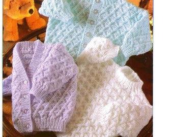 PDF Knitting Pattern - Baby's Cardigan and Sweater Set Instant Download