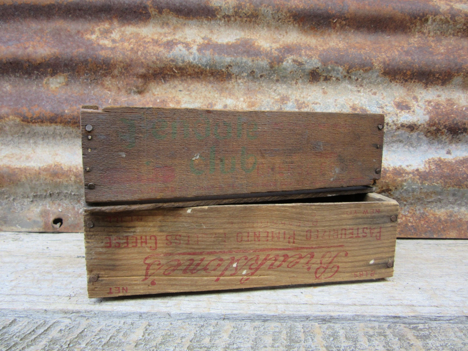 Lot Of 2 Antique Wood Boxes Wooden Cheese Box Small Wooden Crate Box