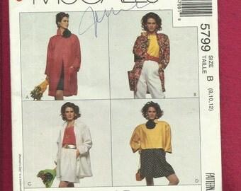 McCalls 5799 Oversized Drop Shoulder Jackets or Coats Big & Baggy Sizes 8..10..12 UNCUT