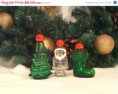 HALF OFF SALE Vintage Christmas Avon Perfume Bottles Christmas Tree, Santa and Stocking