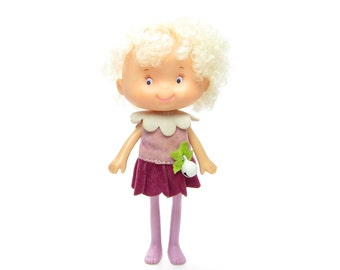 Snowdrop Doll Herself the Elf Friend with White Hair & Purple Dress 1980's American Greetings Toy