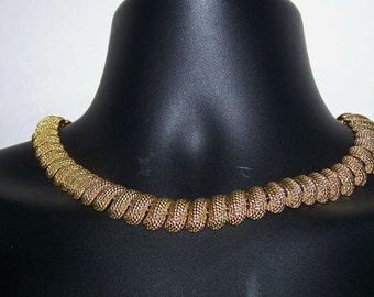 "Heavy NAPIER Signed Necklace Choker Gold Tone Chain Solid Hinged Glamorous Textured Evening Formal 18"" Vintage"