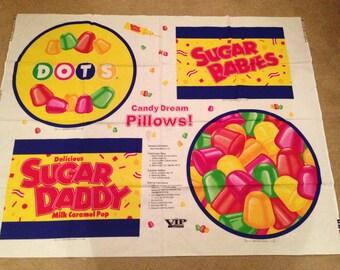 Candy Dream Pillows Cotton Cushion Panels - Sugar Daddy, Dots, Sugar Babies