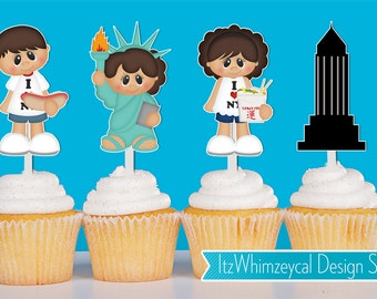 I Heart New York / I Love New York Cupcake Toppers