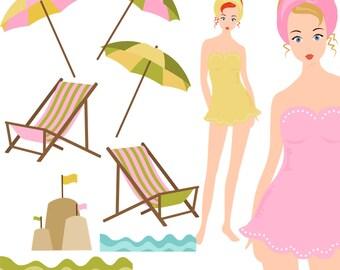 Girl Clipart, Swim Clipart, beach Clipart, Seaside Clipart, Instant Download, Summer Clipart