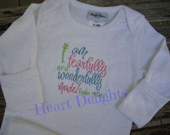 """Embroidered Infant Baby Girl Newborn Gown with  Embroidery Bible Verse    """" Wonderfully Made"""""""