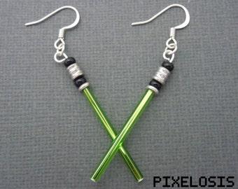 Shiny Green Lightsaber Earrings, Star Wars Jewelry, Luke Skywalker, Jedi, Yoda, Handmade, Starwars, Star Wars Art, Star Wars Costume, Geeky