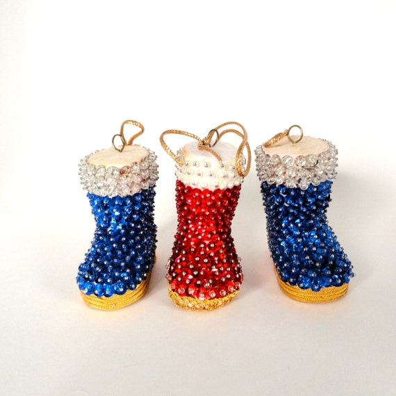 3 Vintage Ornaments/Christmas Santa Boot Ornaments/ Beaded